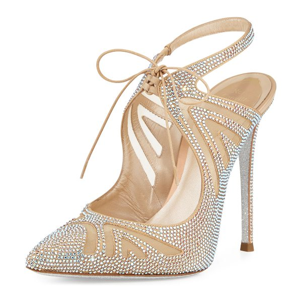 Rene Caovilla Crystal-Embellished Tie-Front 115mm Pump in nude - Rene Caovilla mesh and satin pump with Swarovski...