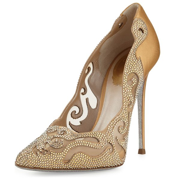 Rene Caovilla Crystal Laser-Cut 115mm Pump in gold - Rene Caovilla laser-cut satin and leather pump with...