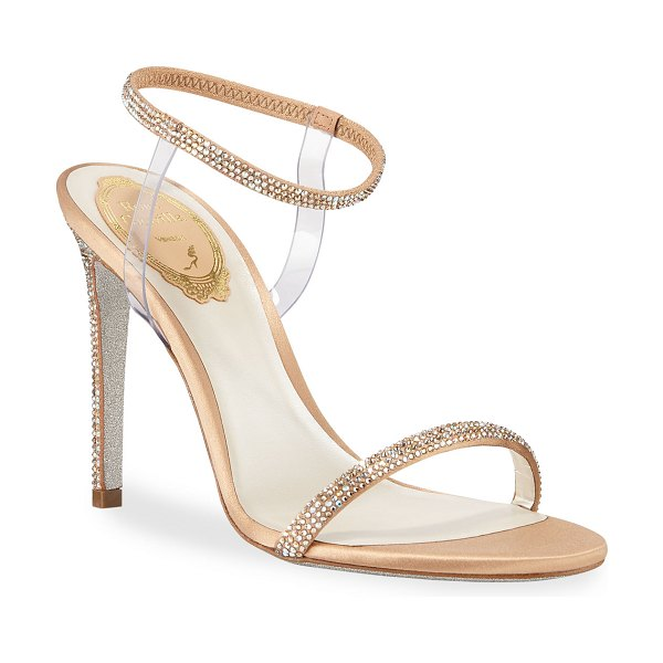 Rene Caovilla Crystal-Trim 105mm Sandals with PVC Straps in beige