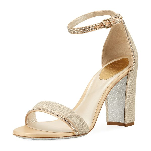 Rene Caovilla Crystal-Trim Satin Block-Heel Sandal in beige/shadow - EXCLUSIVELY AT NEIMAN MARCUS Rene Caovilla satin sandal...