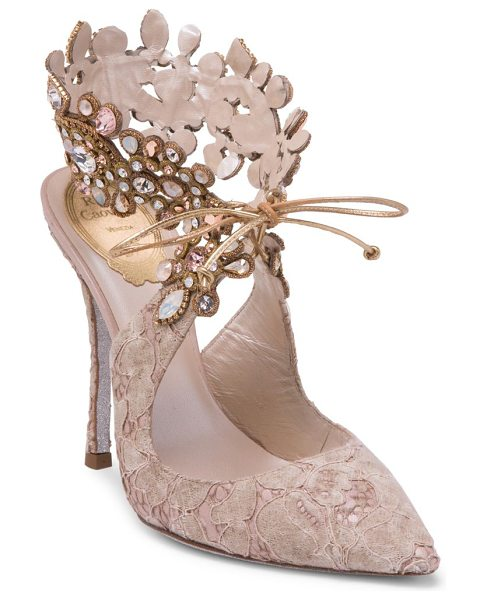 Rene Caovilla embellished ankle lace pump in beige - Open back lace pump with embellished ankle closure...