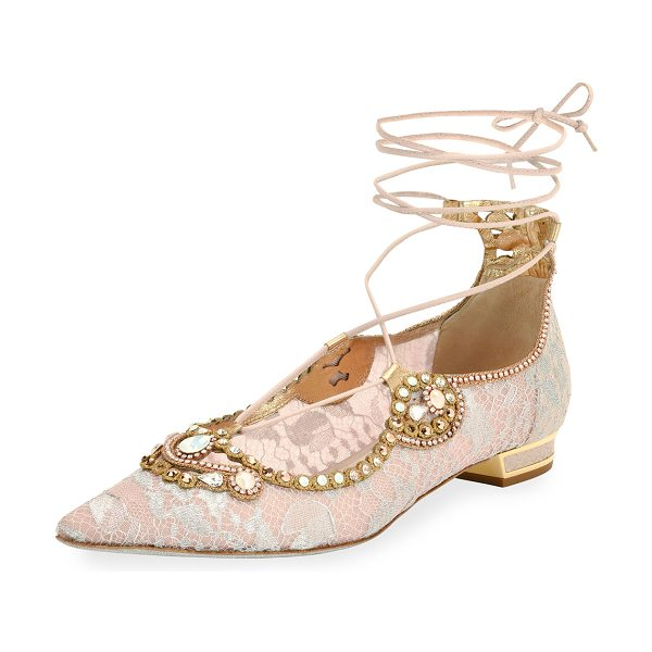 Rene Caovilla Embellished Lace Ankle-Tie Flat in pink - EXCLUSIVELY AT NEIMAN MARCUS Rene Caovilla lace covered...