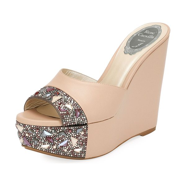 RENE CAOVILLA Embellished Leather Wedge Slide Sandal - EXCLUSIVELY AT NEIMAN MARCUS Rene Caovilla leather...
