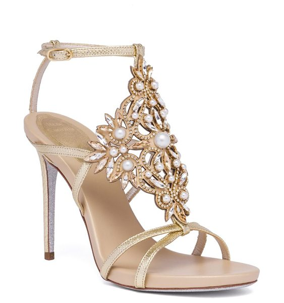 Rene Caovilla embellished metallic snakeskin sandals in gold