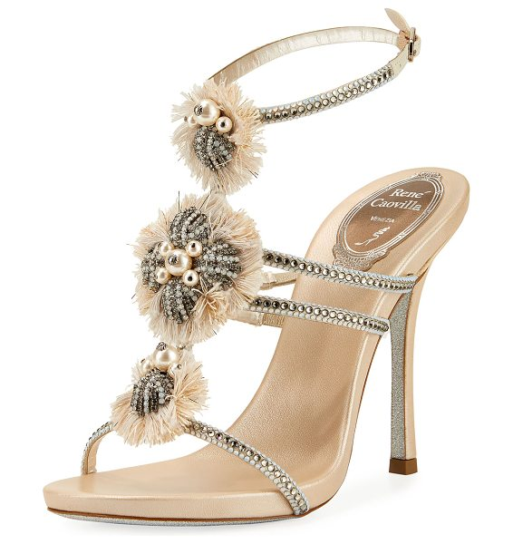 Rene Caovilla Embellished Triple-Strap Sandal in beige/white/black