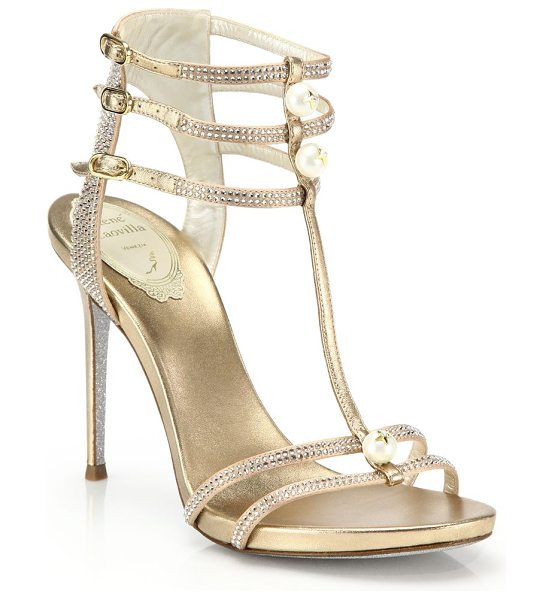 Rene Caovilla Faux pearl & pavé crystal strappy metallic leather sandals in champagne - Swarovski simulated pearls poise with solitaire star...