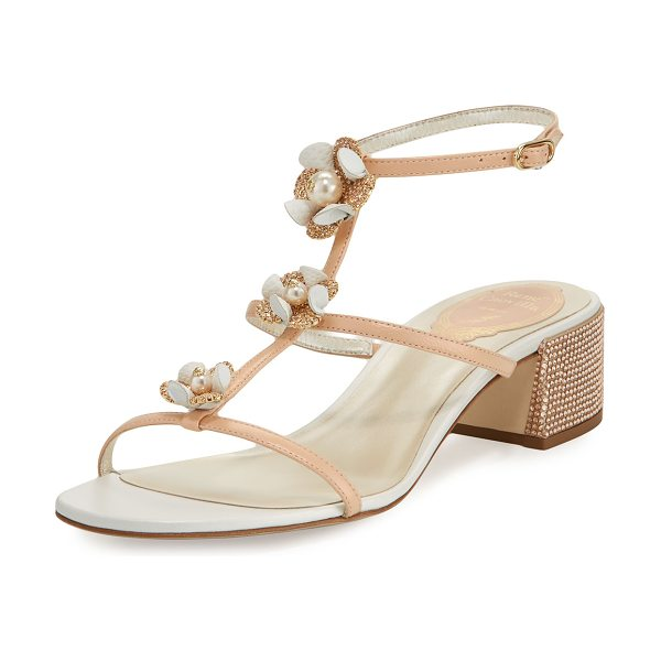 Rene Caovilla Floral-Embellished Karung Sandal in nude - Rene Caovilla napa leather sandal with karung lizard and...