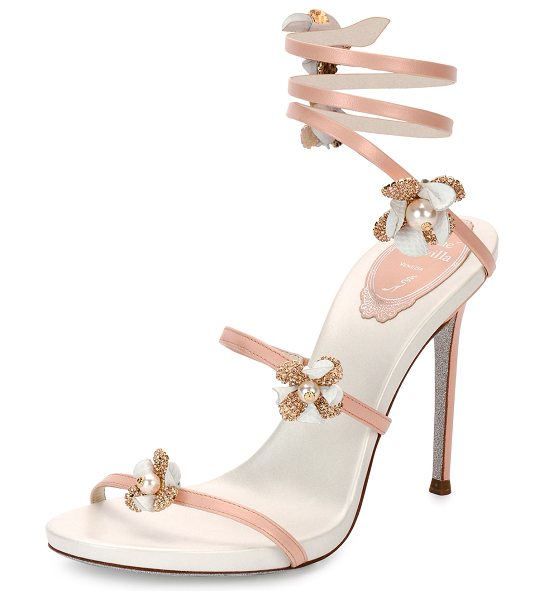 Rene Caovilla Floral Snake 105mm Sandal in peach - ONLYATNM Only Here. Only Ours. Exclusively for You. Rene...