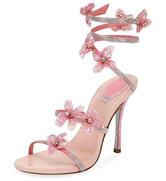 RENE CAOVILLA Flower Embellished Snake-Coil Sandal in pink - EXCLUSIVELY AT NEIMAN MARCUS Rene Caovilla satin sandal...