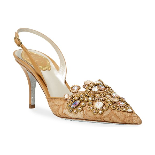 Rene Caovilla Jeweled Lace Mid-Heel Pumps in beige