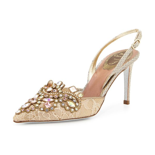 "Rene Caovilla Jeweled lace & watersnake pump in gold - Rene Caovilla lace pump with watersnake trim. 3"" covered..."