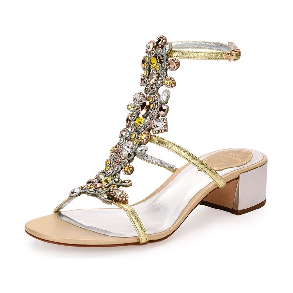 Rene Caovilla Jeweled Snakeskin T-Strap Sandal in gold - ONLYATNM Only Here. Only Ours. Exclusively for You. Rene...