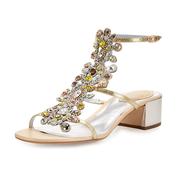 Rene Caovilla Jeweled Snakeskin T-Strap Sandal in gold - EXCLUSIVELY AT NEIMAN MARCUS Rene Caovilla karung...