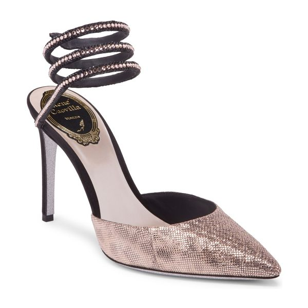 Rene Caovilla karung ankle wrap pumps in black rosegold - Ankle-wrap pump with regal jeweled trim. Self-covered...