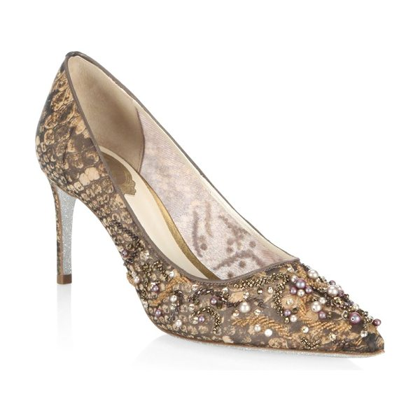 RENE CAOVILLA lace and pearl pumps - Elegant style pumps with pearl and lace embroidery....