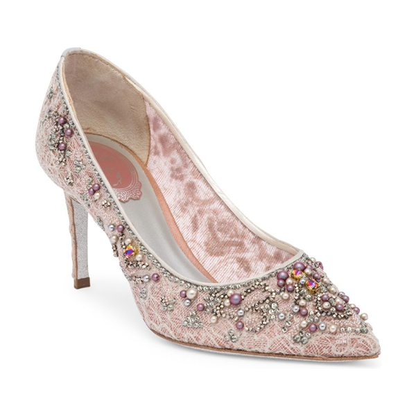 Rene Caovilla lace and pearl pumps in grey pink - Boho-style pumps with pearl accent and lace embroidery....