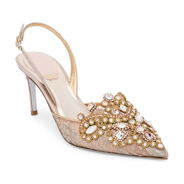 Rene Caovilla lace embroidered slingback pumps in pink grey - Attractive embroidered pumps with dazzling crystals....