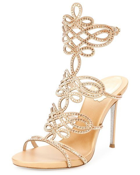 "Rene Caovilla Laser-Cut Crystal 105mm Sandal in gold - Rene Caovilla crystal-embellished satin sandal. 4.3""..."