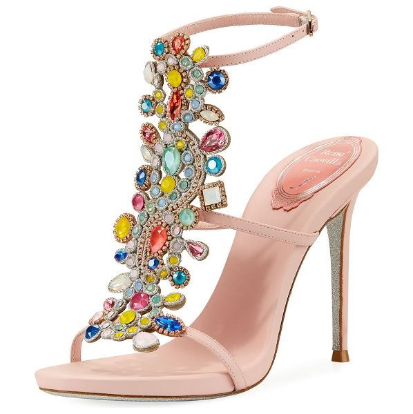 Rene Caovilla Multi-Embellished 105mm Sandal in pink/yellow - EXCLUSIVELY AT NEIMAN MARCUS Rene Caovilla calf leather...