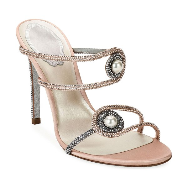 Rene Caovilla Pearly Embellished High-Heel Satin Sandals in pink