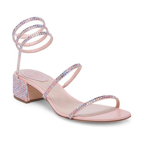 Rene Caovilla pink crystal ankle wrap sandals in pink