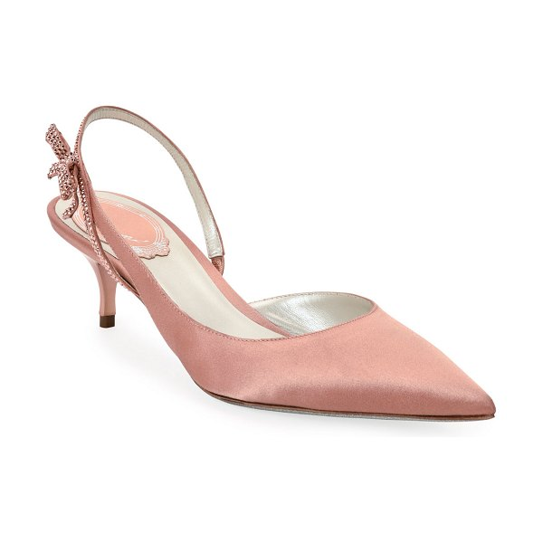 Rene Caovilla Satin Slingback Pumps with Crystal Bow in pink