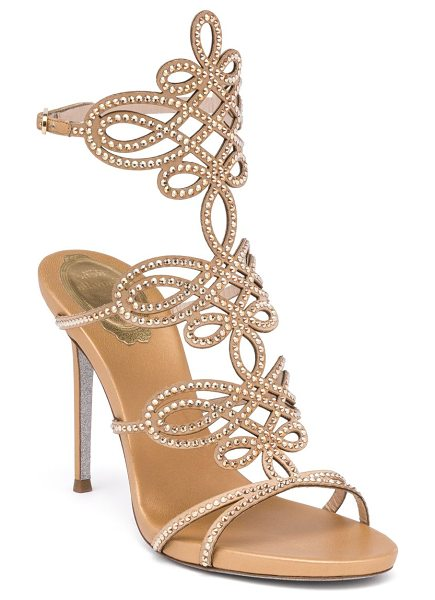 Rene Caovilla satin & swarovski crystal sandals in gold - Signature swirls and crystal trim define satin sandal....
