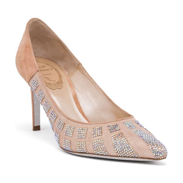 Rene Caovilla strass point toe pumps in beige - Shimmering point-toe pump with crystal embellishment....