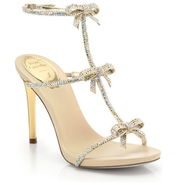 Rene Caovilla Strass swarovski crystal bow sandals in gold - Swarovski crystals cover these sweet bow-detailed...