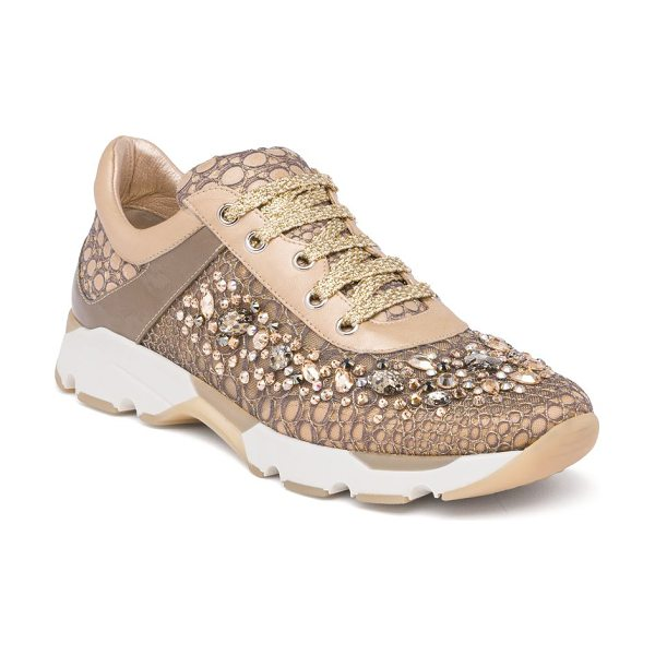 Rene Caovilla swarovski crystal-embellished lace sneakers in beige - EXCLUSIVELY AT SAKS FIFTH AVENUE. Running sneaker goes...
