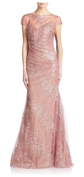 Rene Ruiz Draped cap-sleeve tulle gown in blush - A romantic design in airy tulle, shaped by artful...