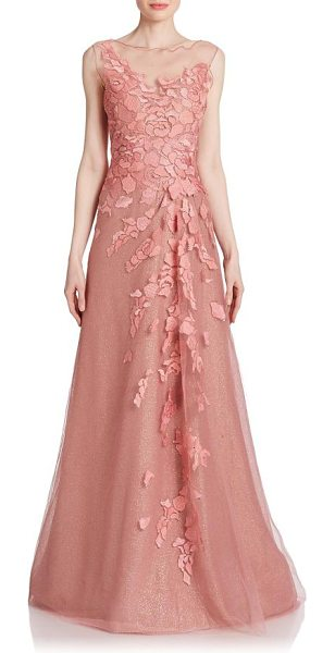 Rene Ruiz floral-applique tulle gown in taupeyrose - Light-catching crystals spark this magnificent tulle...