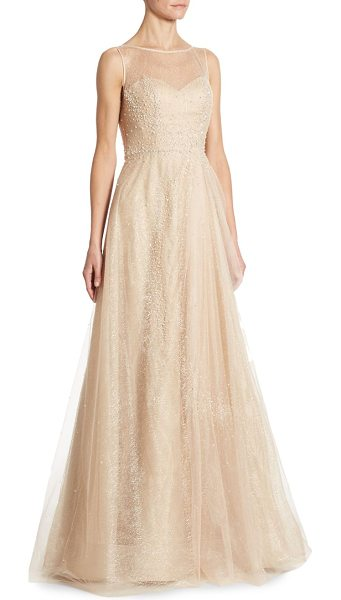 Rene Ruiz illusion beaded tulle gown in champagne - Romantic beaded tulle gown in A-line silhouette....