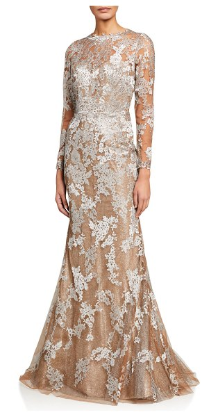 Rene Ruiz Long-Sleeve Lace Illusion Mermaid Gown in champagne