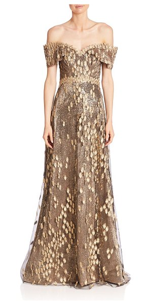 Rene Ruiz off-the-shoulder dress in black gold - Glitzy embossed details accent the sheer lace overlay....