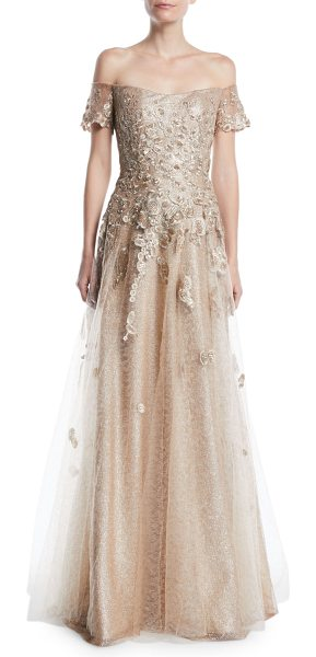 RENE RUIZ Off-the-Shoulder Gown w/ Tulle & Floral Applique in gold - Rene Ruiz off-shoulder gown with tulle and floral...