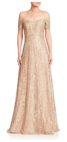 Rene Ruiz off-the-shoulder gown in gold - Off-the-shoulder gown with shimmering embellishments....