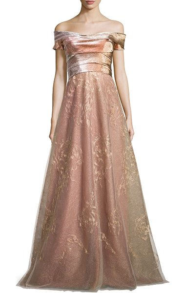 RENE RUIZ Off-the-Shoulder Pleated Bodice Gown - Rene Ruiz evening gown with metallic bodice and...