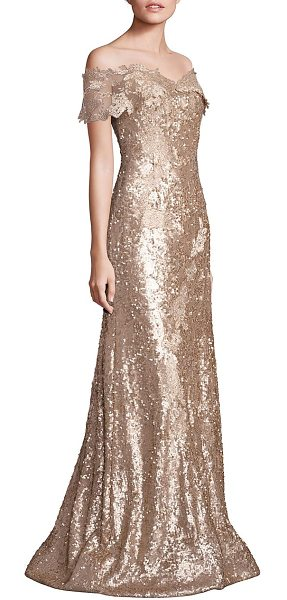 Rene Ruiz off-shoulder sequin lace applique gown in gold - Gorgeous gown adorned with glittery sequins....