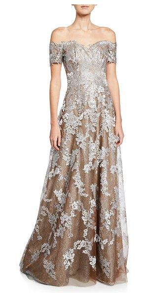 Rene Ruiz Off-the-Shoulder Sweetheart Short-Sleeve Metallic Lace Gown in champagne