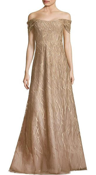 RENE RUIZ ribbon embroidered off-the-shoulder gown - Gleaming embroidery accentuates this flared gown....
