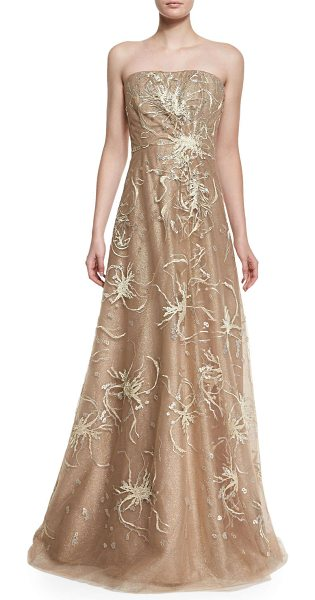 Rene Ruiz Strapless embroidered gown in gold - Rene Ruiz evening gown in shimmery tulle with...