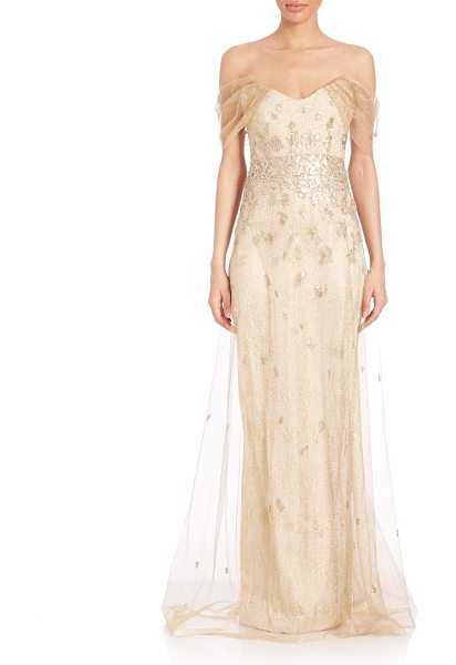 RENE RUIZ strapless jacquard gown - Jacquard tulle gown with textural overlay.V-neck. Draped...