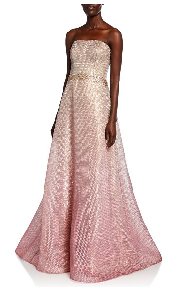 Rene Ruiz Strapless Ombre Bustier A-Line Gown in rose gold
