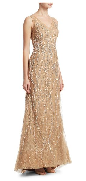 Rene Ruiz v-neck sequin gown in champagne - Elegant illusion tulle and lace gown embellished with...