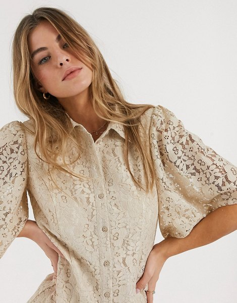 Résumé resume trena lace shirt in sand-brown in brown