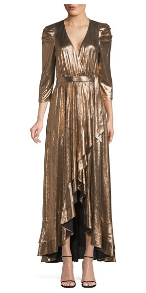 retrofete flora lame high-low wrap dress in bronze - Crinkled lame fabric catches to light to highlight...