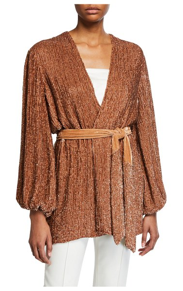 retrofete Gabrielle Sequined Wrap Dress in bronze