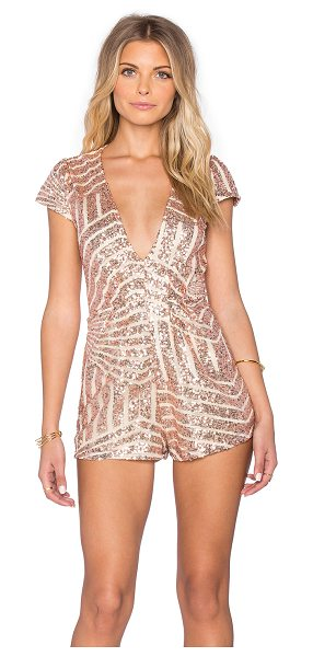 Reverse Disco queen romper in metallic copper - 100% poly. Hand wash cold. Fully lined. Hidden back...