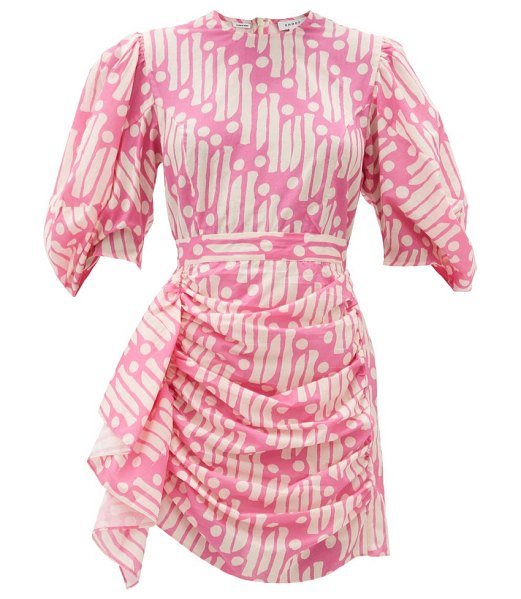 Rhode pia printed cotton mini dress in pink print